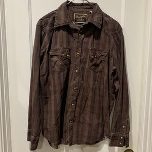 Wrangler XL retro brown plaid snap button shirt